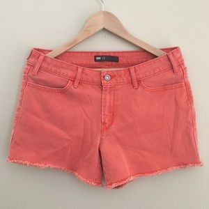 Levi's Orange Frayed Hem Jean Shorts Size 12